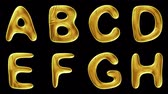 азбука : Alphabet from gold isolated on black background. The letter A B C D E F G H . alpha channel 3d rendering 4K