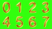 sete : Alphabet from gold isolated on green background. The number 0 1 2 3 4 5 6 7 . alpha channel 3d rendering 4K Vídeos