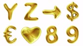 helyum : Alphabet from gold isolated on white background. The letter 8 9 Y Z and sign arrow, dollar, euro, heart . alpha channel 3d rendering 4K