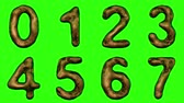 patterned : Alphabet from snake skin isolated on green background. The numeral 0 1 2 3 4 5 6 7 gold color. alpha channel 3d rendering 4K