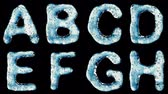 patterned : Alphabet from water isolated on a black background. The letter A B C D E F G H . alpha channel 3d rendering 4K