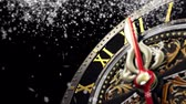 on oniki yaşında : New Years at midnight - Old clock with stars snowflakes on black background. 4K 3d rendering