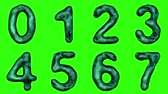 patterned : Alphabet from snake skin isolated on green background. The numeral 0 1 2 3 4 5 6 7 green color. alpha channel 3d rendering 4K Stock Footage