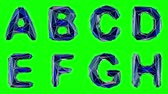 patterned : Alphabet made of low poly style isolated on green background. A B C D E F G H . alpha channel 3d rendering 4K
