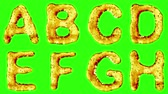 patterned : Alphabet from oil isolated on a green background. The letter A B C D E F G H . alpha channel 3d rendering 4K