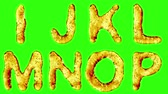 patterned : Alphabet from oil isolated on a green background. The letter I J K L M N O P . alpha channel 3d rendering 4K