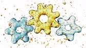 unite : Three 3d gears made of water. 3d illustration, isolated on white background 4K Stock Footage