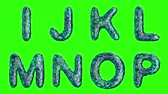 müsli : Alphabet from blue plastic with abstract holes isolated on a green background. I J K L M N O P . alpha channel 3d rendering 4K
