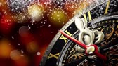 meia noite : New Years at midnight - Old clock with stars snowflakes on bokeh background. 4K 3d rendering