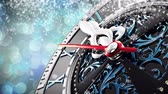 sylwester : New Years at midnight - Old clock with stars snowflakes and holiday lights. 3d rendering 4K