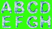 patterned : Alphabet from water isolated on a green background. The letter A B C D E F G H . alpha channel 3d rendering 4K