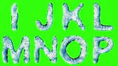 patterned : Alphabet from water isolated on a green background. The letter I J K L M N O P . alpha channel 3d rendering 4K