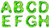 list : Alphabet from green water isolated on a white background. The letter A B C D E F G H . alpha channel 3d rendering 4K