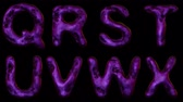 bright clothes : Alphabet from snake skin isolated on black background. The letter Q R S T U V W X purple color. alpha channel 3d rendering 4K Stock Footage