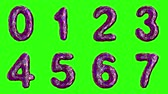 číslice : Alphabet from plastic with abstract holes isolated on a green background. The numeral 0 1 2 3 4 5 6 7 . alpha channel 3d rendering 4K Dostupné videozáznamy