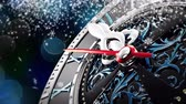 on oniki yaşında : New Years at midnight - Old clock with stars snowflakes and holiday lights. Bokeh background. 3d rendering 4K