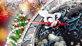 on oniki yaşında : New Years at midnight - Old clock with stars snowflakes and holiday lights. 3d rendering 4K