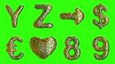 patterned : Alphabet from plastic with abstract holes isolated on a green background. Y Z, arrow,dollar, euro, heart, 8,9 . alpha channel 3d rendering 4K