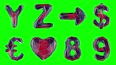 helyum : Alphabet made of red color low poly style isolated on green background. 8 9 Y Z and sign arrow, dollar, euro, heart . alpha channel 3d rendering 4K