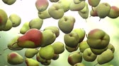 Super slow motion: falling pear against green background. High quality 4K seamless loopable CG animation. 3D rendering