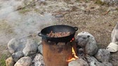 картофель : Cooking of meat in cauldron outdoors Стоковые видеозаписи