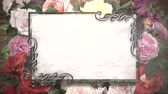celebração : Closeup vintage frame with flowers motion, wedding background. Elegant and luxury pastel style, animation footage Stock Footage