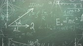 görev : Closeup mathematical formula and elements on blackboard, school background. Elegant and luxury animation footage of education theme Stok Video