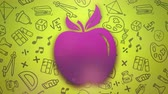 Closeup motion of school elements, education background with apple. Elegant and luxury animation footage
