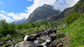 谷 : Mountains scenes in national park of Dombay, Caucasus, Russia, Europe. Summer landscape, sunshine weather, blue sky and sunny day