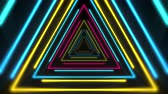 cores vibrantes : Motion colorful neon triangles, abstract background. Elegant and luxury dynamic club style template
