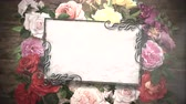 граница : Closeup vintage frame with flowers motion, wedding background. Elegant and luxury pastel style, animation footage Стоковые видеозаписи