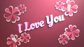 Animated closeup I Love you text and motion romantic heart on Valentine day shiny background. Luxury and elegant dynamic style template for holiday