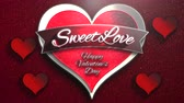 Animated closeup Sweet Love text and motion romantic heart on Valentine day shiny background. Luxury and elegant dynamic style template for holiday Dostupné videozáznamy
