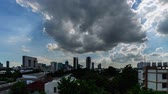 Dark clouds of storm cover the city in Bangkok Thailand, 4K timelapse.