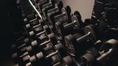 dumbell : Set, a rack of dumbbells of different sizen for training, close-up Stock Footage