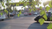 ropa : Traffic at a gas station, blurred, defocused