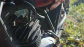 Old vintage motorcycle for competitions Motorola is the exhibition of motorcycles. Close up Stock Footage