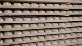 바닐라 : Panorama of many sweets white marshmallows stored in wooden racks in the warehouse of the confectionery factory. The concept of ready-made sweet products
