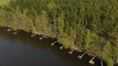 horizontální : Aerial view of many ancient, vintage, fishing bridges along the picturesque shore of the reservoir, the river with coniferous trees. The concept of a place for outdoor activities, beautiful landscape