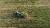 vyrobit : Aerial: tractor with a crop of silage in a trailer rides through a freshly mown field of corn in the countryside on a Sunny evening. The drone follows the agricultural machine. Concept of agribusiness