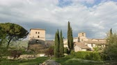 司祭 : The old village of Farfa in Sabina, in Lazio in Italy, resumed in time lapse in the afternoon. 動画素材