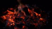 Coal embers. Fire with charcoal. Brace for the barbecue. Archivo de Video
