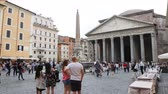 May 12, 2018, Rome, Italy. Crowd of tourists in Rome in front of the Pantheon. The fountain of Piazza della Rotonda in Rome. The Pantheon obelisk with fountain and tourists in Rome. Video.