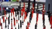 copiadora : camera moves slowly over the stand with various drills and cutters of different sizes and shapes.close-up.shallow depth of field. Stock Footage