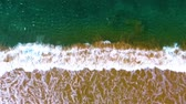oregon coast : Narrow beach line, waves and ocean. Aerial view. Stock Footage