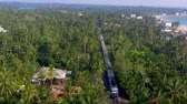 ceylon : the old train rides through the tropics with palm trees and villas Stock Footage