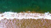 oregon coast : Slow motion aerial shot Narrow beach line, waves and ocean. Stock Footage