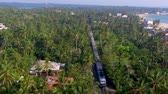 ceylon : Slow motion aerial shot the old train rides through the tropics