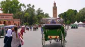 kareler : Locals and tourists on the main square of Marrakech Stok Video