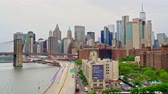 США : Financial district skyline or downtown New York with the Brooklyn bridge Стоковые видеозаписи